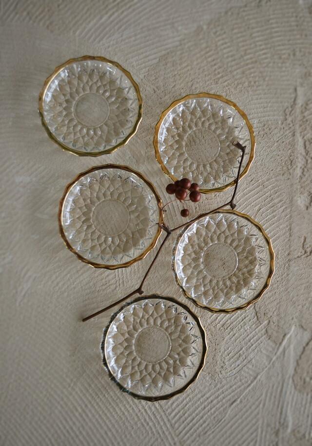 昭和レトロプレスガラス小皿 五枚組 金縁