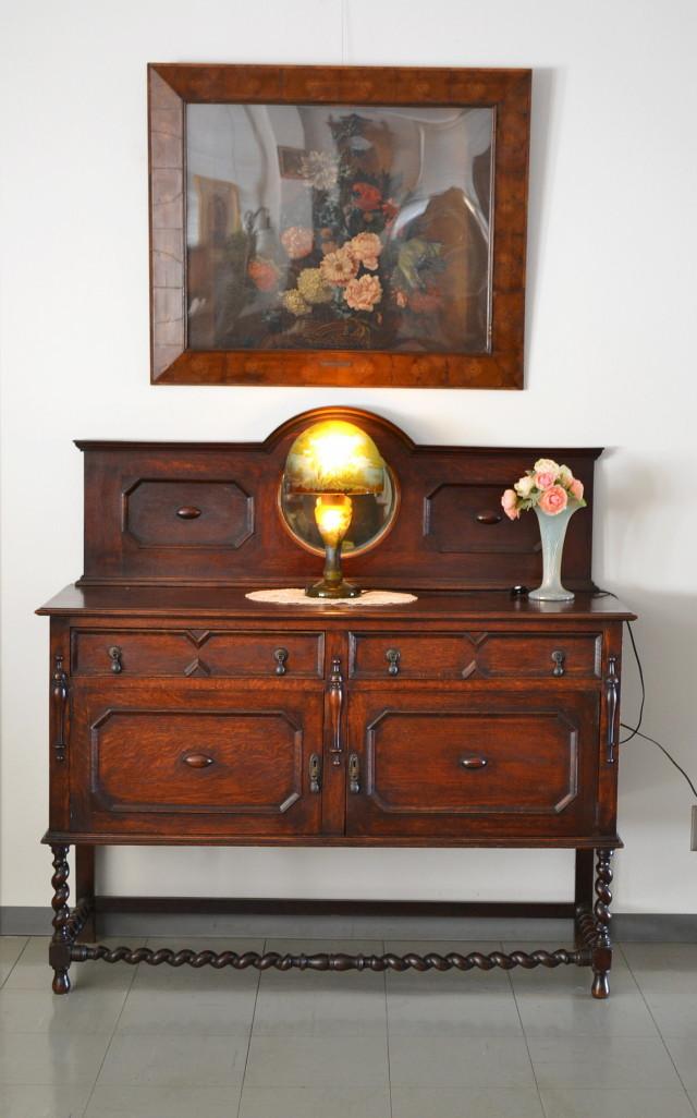 アンティークミラバックサイドボードツイストレッグ イギリスアンティーク家具