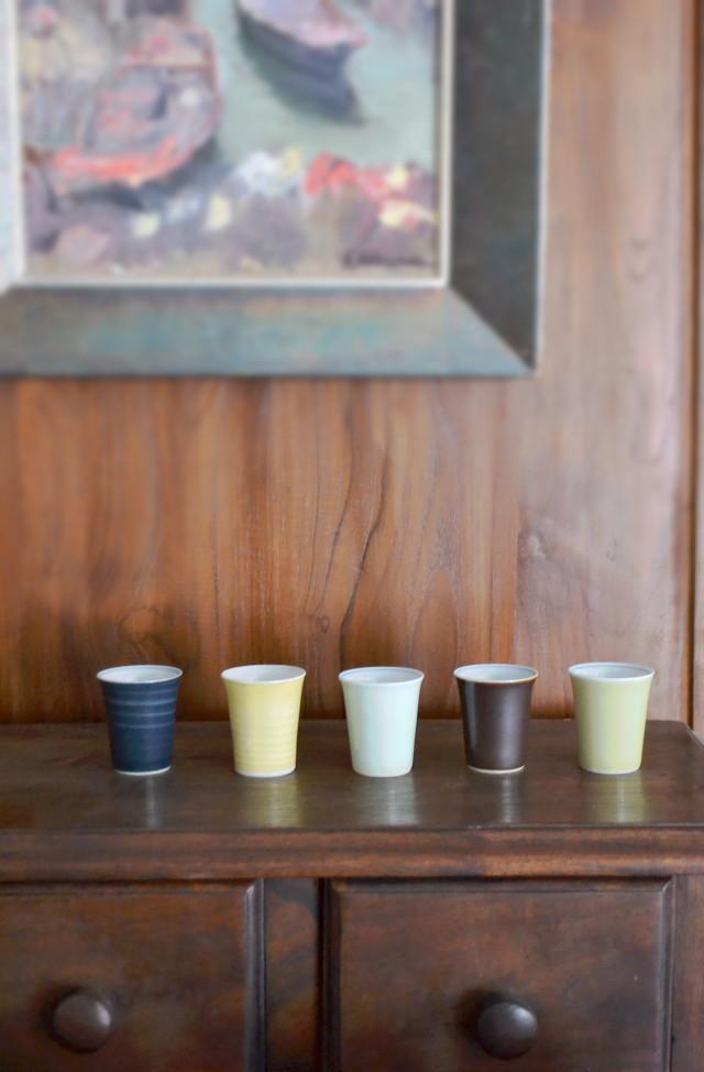 昭和レトロ お猪口 ぐい吞み 御煎茶碗 5色1組