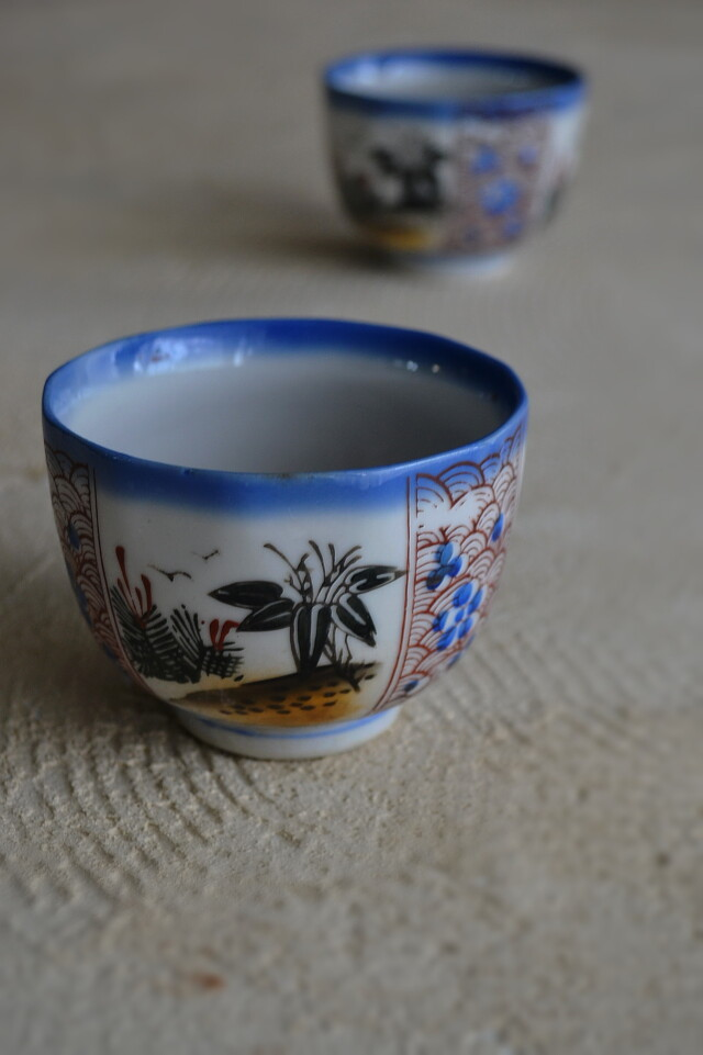 色絵印判向付 煎茶茶碗 一客