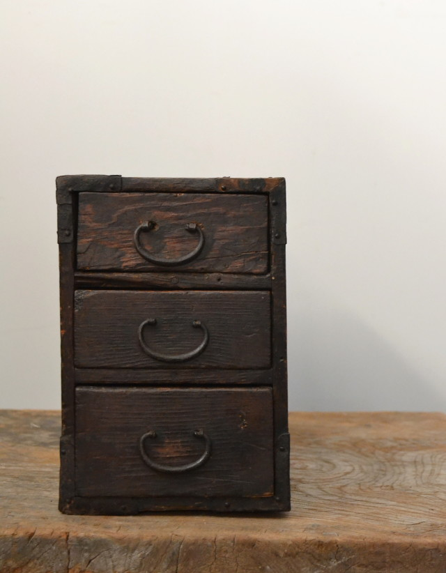 三段引き出し 小箪笥 小物入れ 手持箱