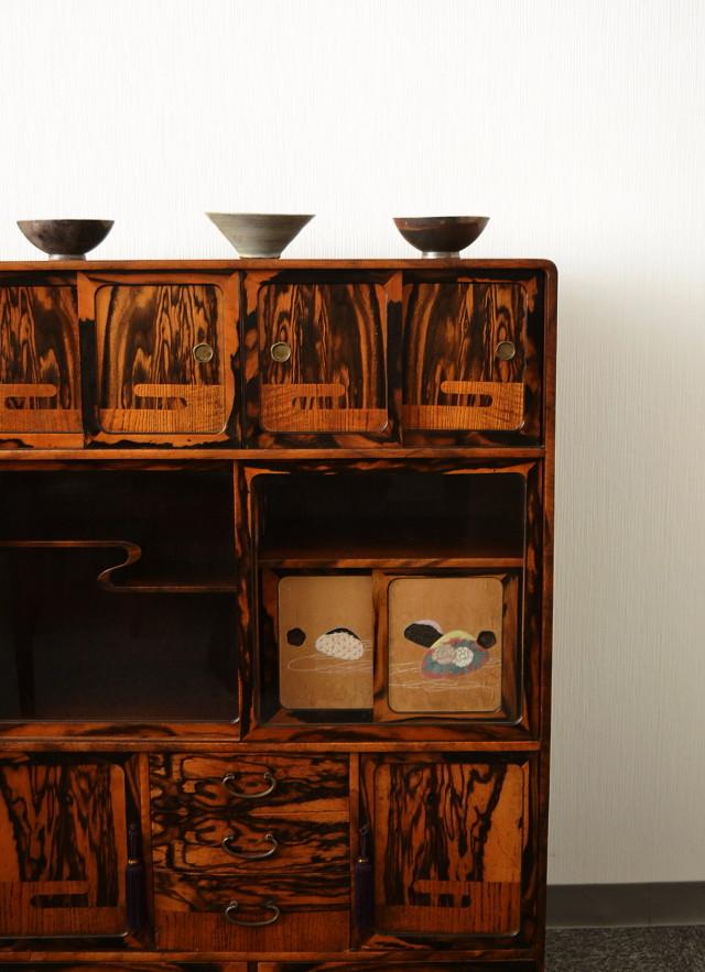 茶箪笥 象嵌文様  和箪笥 和家具