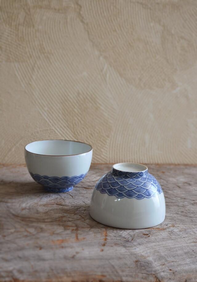 手描き染付青海波紋御飯茶碗 茶碗 鉢 二個セット