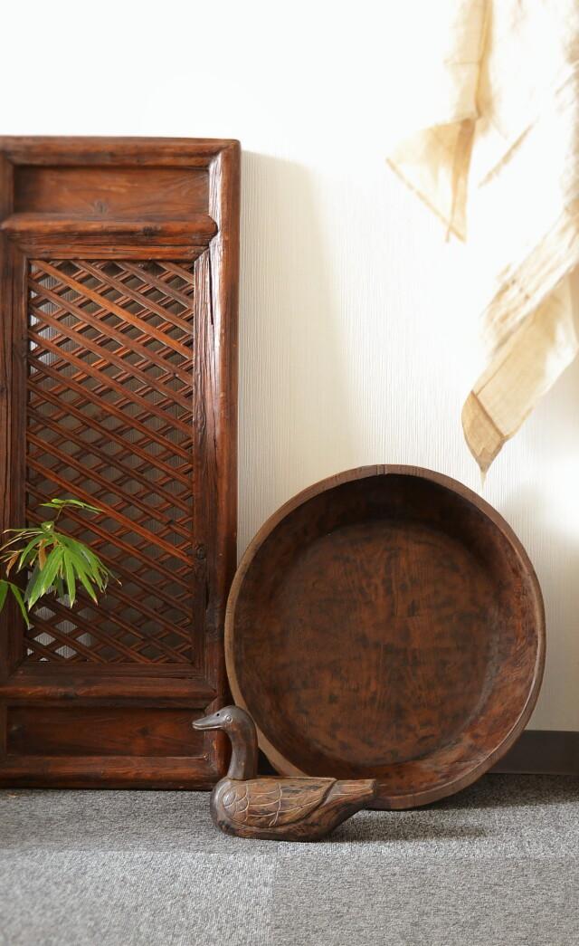 大きな李朝木鉢 木製捏鉢