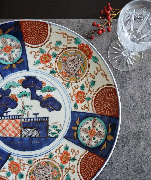 染錦色絵大皿 オードブルプレート 飾り皿