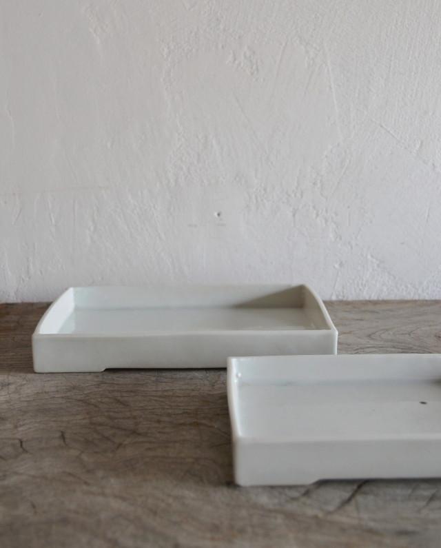 白磁角皿 大小 未使用品 蔵出し品