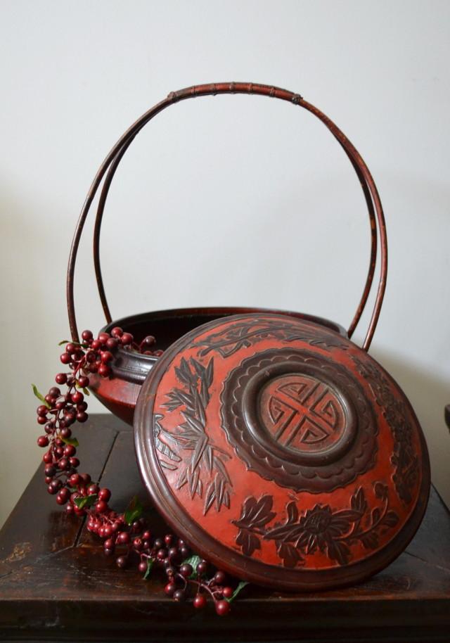 中国朱塗り食籠 菓子器 花生け