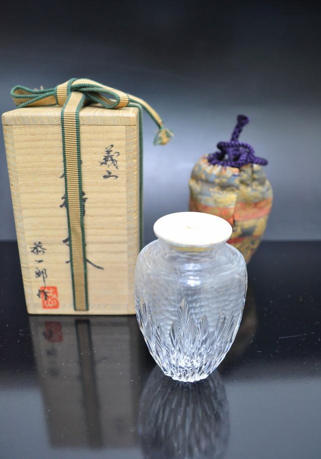 河上恭一郎作 ガラス茶入れ 茶道具