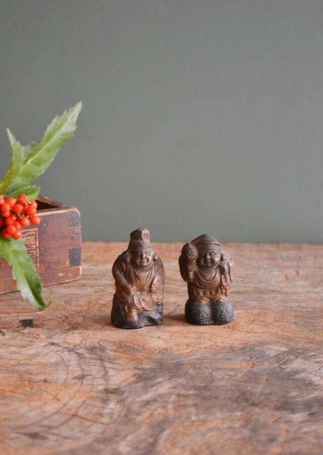小さな恵比寿大黒人形 陶器製