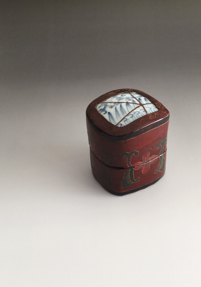 中国漆器青花陶片小箱 漆蒔絵合子