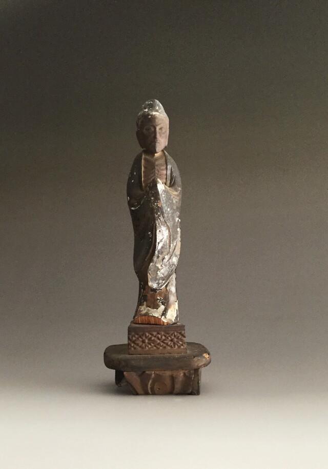 木彫小仏 苦行僧 釈迦苦行像 台付 江戸時代 在銘あり