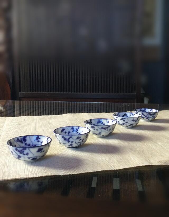 なずな紋様煎茶茶碗五客組