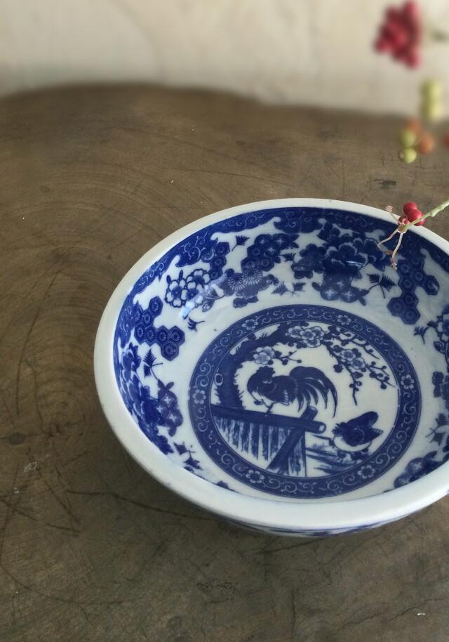 染付印判慶祥紋双鶏図鉢