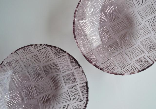パープル・プレスガラス小鉢