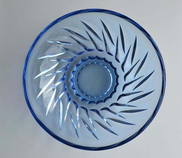 ブルー・プレスガラス小鉢