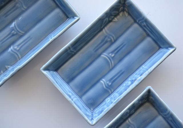 瑠璃釉竹節地紋長皿