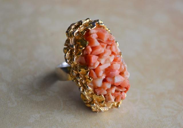 珊瑚デザインリング