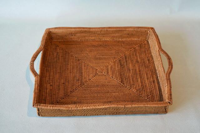 アタ籠編み手付きトレー