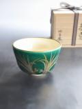 緑釉 金銀苗 茶碗 御室窯 茶道具
