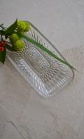 プレスガラス 長方形皿 昭和レトロ ガラス