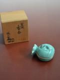 袋鼠香合 青磁香合 桃山窯