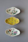 中国陶磁 五彩皿 三組