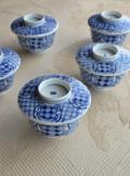 染付蓋付向付 茶碗 手描き  五客