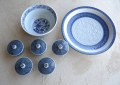 染付け食器三点セット大皿・鉢・煎茶椀5客セット