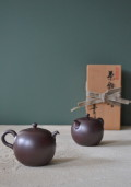 茶銚一対 煎茶急須 万古焼 美月作 紫泥