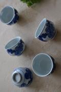 喜山窯 手描き菊の葉煎茶茶碗5客組