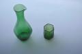 六角緑色和ガラス徳利ぐいのみセット