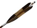 竹矢 黒手羽 染抜 中白4本組 弓力13kg前後 竹 竹製 既製品【M-066】