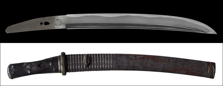 商品番号:M-283 短刀 (葵紋)無銘 拵え付き 木箱付き