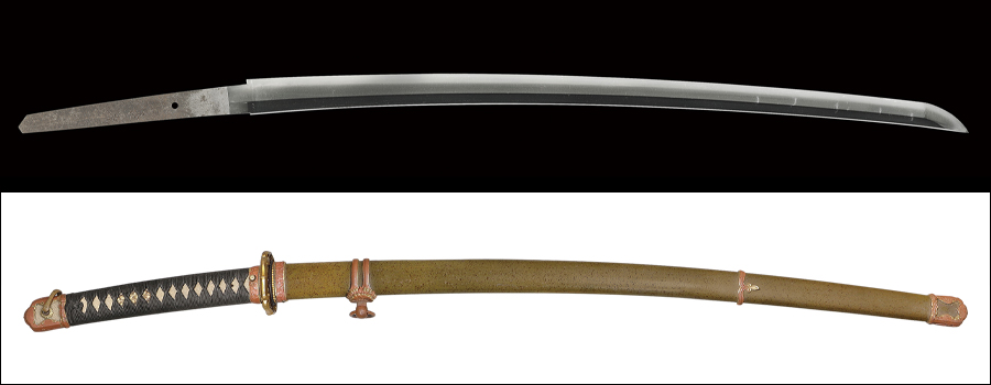 【研ぎ中】 商品番号:N-388 刀 長光(一龍子) 保存刀剣鑑定書付き 軍刀拵え入り
