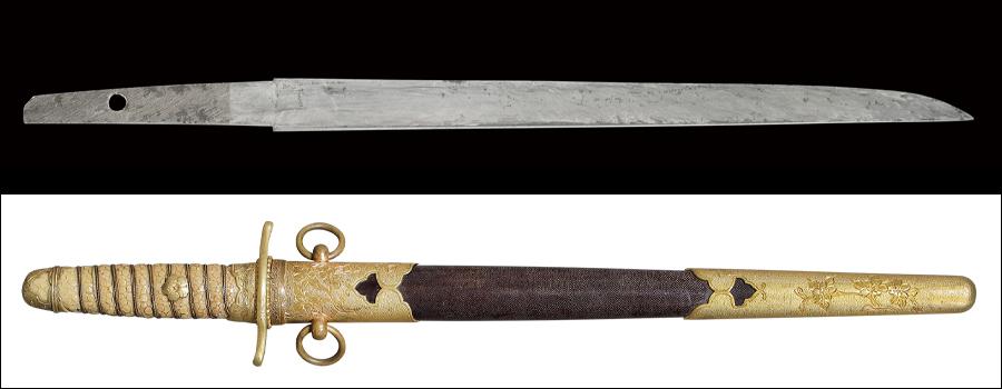 【売約済】商品番号:N-622 短刀 無銘 海軍短剣拵え付き(明治後期型)