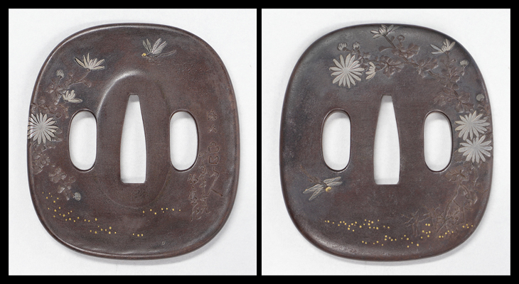 商品番号:V-1781 鍔:菊花に勝虫の図 特別保存刀装具鑑定書付