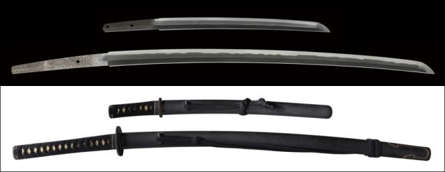 商品番号:L-671 大小 刀:遠州住光廣作 脇差し:無銘 拵え入り