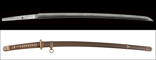 【売約済】商品番号:L-925 刀 石堂輝秀作 一鐶吊旧陸軍軍刀拵え入り