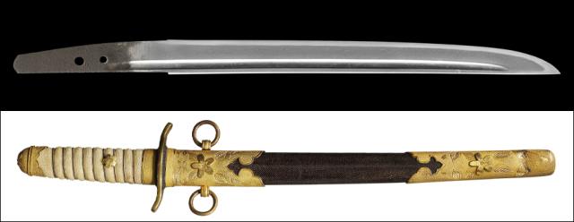 商品番号:M-253 短刀 兼涌 特別保存刀剣鑑定書付き 海軍短剣拵え入り(昭和期型)