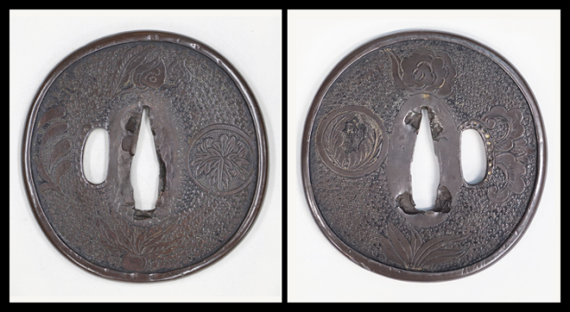 商品番号:T-038 鍔:文様散図 古金工として保存刀装具鑑定書付