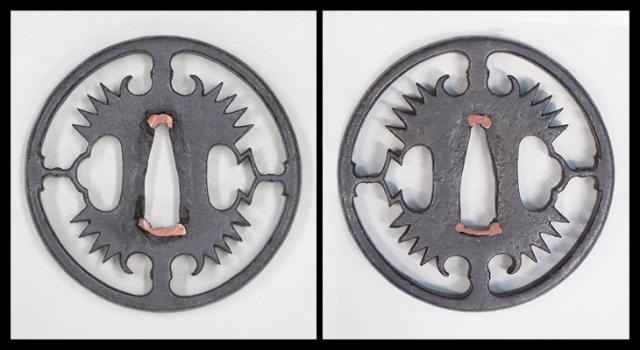商品番号:T-041 鍔:蕨手放射光透図 尾張として保存刀装具鑑定書付
