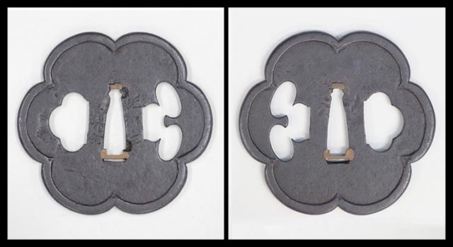 商品番号:T-047 鍔:花文図 銘・紀州住貞命 保存刀装具鑑定書付 紀州の刀装具所載品