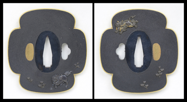 商品番号:T-186 鍔:白沢(はくたく)図 無銘園部派として保存刀装具鑑定書付
