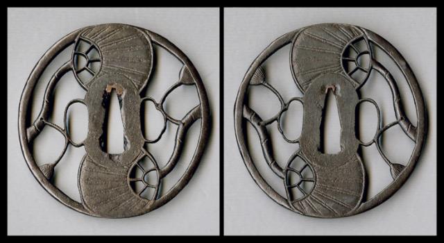 商品番号:T-217 鍔:双団扇透図 古正阿弥として保存刀装具鑑定書付