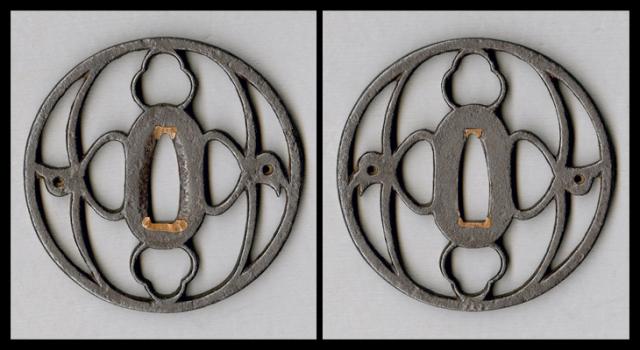 商品番号:T-219 鍔:洲浜結雁金紋透図 尾張として保存刀装具鑑定書付