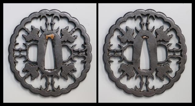 商品番号:T-342 鍔:桐紋雁金透図 無銘林として保存刀装具鑑定書付