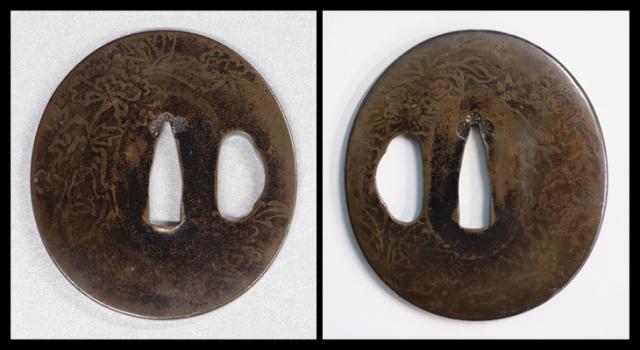 商品番号:T-418 鍔:牡丹の図 京金工として保存刀装具鑑定書付