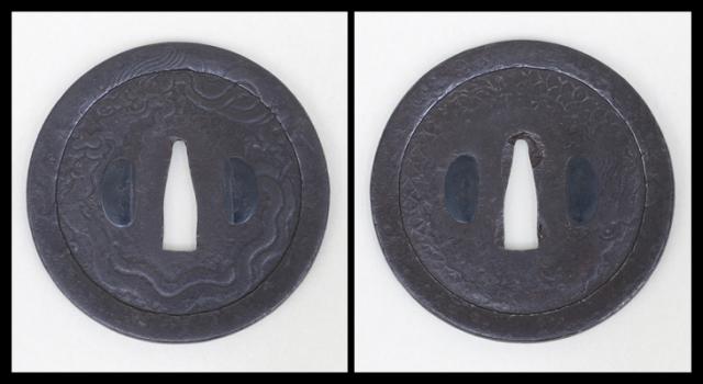 商品番号:T-511 鍔:花紋透図 甲冑師として保存刀装具鑑定書付