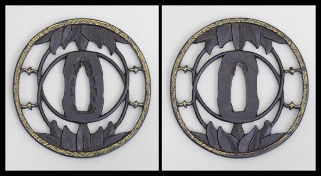 商品番号:T-543 鍔:水仙に銀杏の図 無銘太刀師(桃山期)として特別保存刀装具鑑定書付
