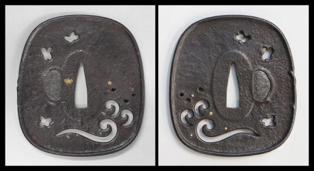 商品番号:T-599 鍔:波千鳥の図 保存刀装具鑑定書付